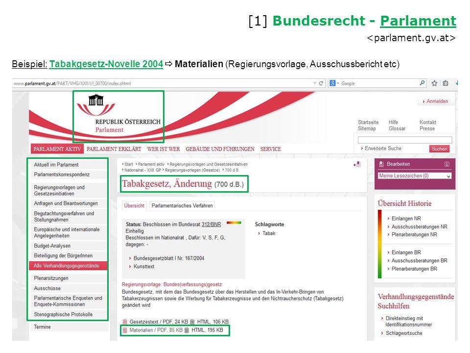 [1] Bundesrecht - Parlament <parlament.gv.at>
